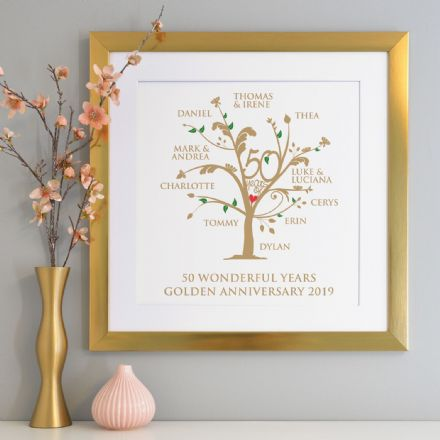 Personalised Golden Anniversary Family Tree Art